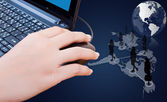 χέρι κάντε κλικ στο ποντίκι με κοινωνικό δίκτυο. — Φωτογραφία Αρχείου