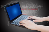 Hand pushing laptop keyboard with Social Network. — Zdjęcie stockowe