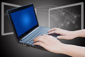 Hand pushing laptop keyboard. — Stock Photo
