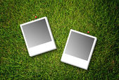 Photo frame on grass field texture. — Stock Photo