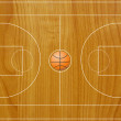 Basketball field texture with real wood. - Stock Photo