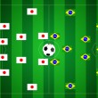 Soccer field with Japan and Brazil strategy. - Stock Photo