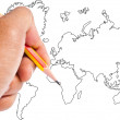 Hand write world map. — Stock Photo