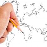 Hand write world map. — Stock Photo