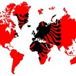 World map background with Albania flag isolated. - Stock Photo