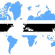 World map background with Botswana flag isolated. — Stock Photo