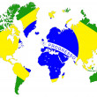 World map background with Brazil flag isolated. — ストック写真
