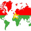 Royalty-Free Stock Photo: World map background with Burkina Faso flag isolated.
