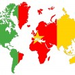 World map background with Cameroon flag isolated. — Stock Photo