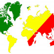 Stock Photo: World map background with Congo flag isolated.