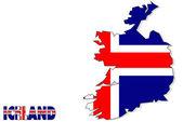 Island kartenhintergrund mit fahne, isoliert. — Stockfoto