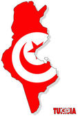 Tunisia map isolated with flag. — Stock Photo