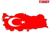 Turkey map isolated with flag. — Stock Photo