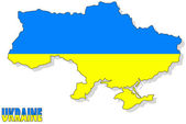 Oekraïne kaart geïsoleerd met vlag. — Stockfoto