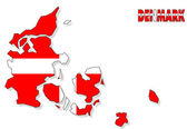 Denmark map isolated with flag. — Stock Photo