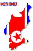 Mapa de corea del norte aislada con bandera. — Foto de Stock
