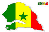 Senegal map isolated with flag. — Stock Photo