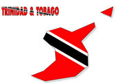Trinidad & Tobago map isolated with flag. — Photo