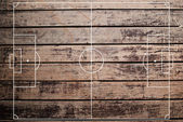 Soccer field texture with old wood texture. — Stock Photo