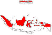 Indonesia map isolated with flag. — Stock Photo