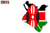 Kenya map isolated with flag. — Stock Photo