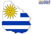 Uruguay map isolated with flag. — Stock Photo
