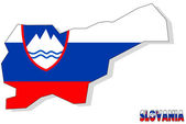 Slovania map isolated with flag. — Stock Photo