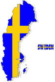 Sweden map isolated with flag. — Stock Photo