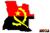 Angola map isolated with flag. — Stock Photo