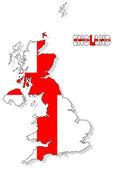 UK map isolated with flag. — Stock Photo