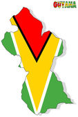 Guyana map isolated with flag. — Foto de Stock