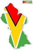 Guyana karte isoliert mit flagge. — Stockfoto