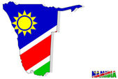 Namibia map isolated with flag. — Stock Photo
