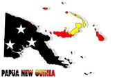 Papua New Guinea map isolated with flag. — Stock Photo