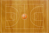 Basketball field texture with real wood. — Stock Photo