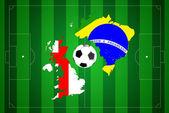 футбольное поле с флагом бразилии и англии. — Стоковое фото