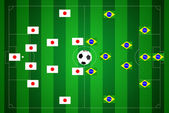 Soccer field with Japan and Brazil strategy. — Stock Photo