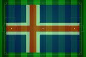 Fußballplatz mit irland-flagge. — Stockfoto