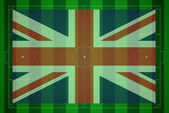 Soccer field with United Kingdom flag. — Stock Photo