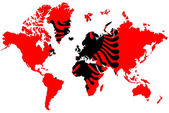 World map background with Albania flag isolated. — Stock Photo
