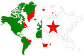 World map background with Algeria flag isolated. — Stock Photo