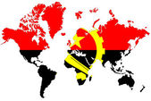 World map background with Angola flag isolated. — Stock Photo
