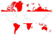 World map background with Austria flag isolated. — Stock Photo