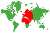 World map background with Bangladesh flag isolated. — Foto de Stock