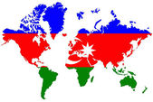 World map background with Azerbaijan flag isolated. — Stock Photo