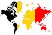 Wereld kaart achtergrond met belgië vlag geïsoleerd. — Stockfoto