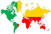 World map background with Benin flag isolated. — Stock Photo