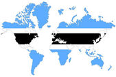 World map background with Botswana flag isolated. — Foto de Stock