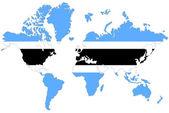 Welt kartenhintergrund mit botswana fahne isoliert. — Stockfoto