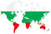 Wereld kaart achtergrond met bulgarije vlag geïsoleerd. — Stockfoto